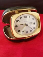 Rare Vintage BULOVA Folding Alarm Travel Clock With Day & Date Works!
