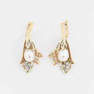 """14k Rose/White Gold 1.75"""" Open Pearl & CZ Leverback Earrings"""