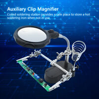 Soldering Helping Hand Stand With 12x Magnifying Magnifier Glass LED Light Clip