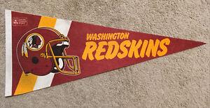 """Vintage 1980s Washington Redskins Football Team Felt Full Size 30"""" Pennant NFL"""