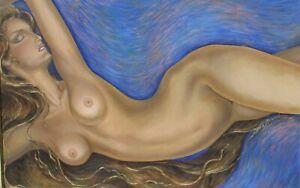 DINA BRUMBERG California Modernist Beautiful Female Deco Nude oil