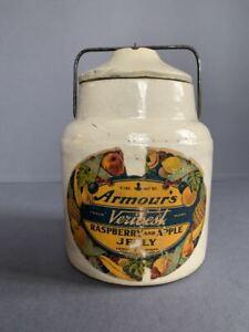 Armour's Veribest Raspberry & Apple Jelly crock paper label 1900s NICE!