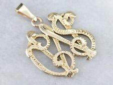"""Vintage Gold """"CWS"""" Monogrammed Pendant"""