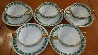 Burley Co Chicago Haviland Limoges France Cream soup cup and saucer sets 5 sets
