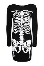 Women's Ladies Black Skeleton Dress for Halloween Party Adult Size Costume 8 T-shirt Skull Face 1