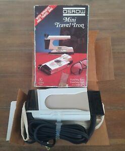 Osrow Mini Travel Iron w/Travel Bag Vintage 1984 Original Box