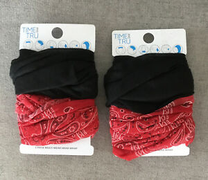 (2)Time & Tru Women's Head Wrap Multifunctional 2 Pack Face Covering Black & Red