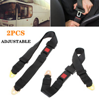 2Pcs Length Adjustable Seat Belt Car RV Truck Lap Belt 2 Point Safety Travel Bus