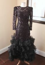 Vtg 80s Black Maroon Sequin Poof Ruffle Drop Waist Formal Prom Party Dress 8