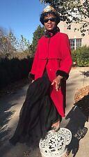 Designer Adolfo Lipstick Red wool & Sable brown mink fur Dress Coat Stroller S-M