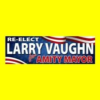 "New ""RE-ELECT LARRY VAUGHN FOR AMITY MAYOR"" Jaws prop BUMPER STICKER shark movie"