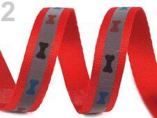 Reflexband Reflektorband rot silber reflektierend Band Gurtband Hund Knochen