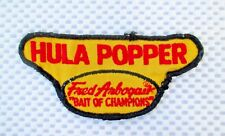 """Fred Arbogast Bait of Champions HULA POPPER PATCH Fish Bait Lure Angler  5"""" x 2"""""""