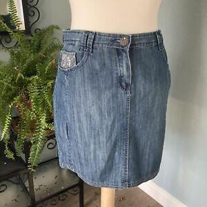 Size 12 Petite - Denim Mini Skirt Sequin Detail Pockets Cotton Blend Y2K