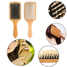 Wood Natural Paddle Brush Wooden Hair Care Spa Massage Large Anti-static Comb 1x
