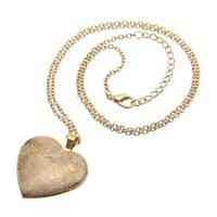 Gold Heart Photo Picture Frame Locket Pendant Chain New Necklace Jewelry Hot