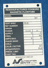NOS STAINLESS STEEL ID DATA PLATE: FOXBORO MAGNETIC FLOWTUBE SERIAL # TAG VALVE