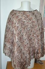 $325 AUTHENTIC MISSONI ORANGE LABEL WOMEN'S BROWN  ZIG ZAG PONCHO
