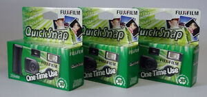 3 x FUJI Fujifilm QuickSnap disposable Single Use Flash Camera 27 Exposures (UK)