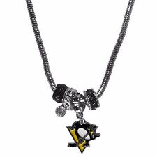 """pittsburgh penguins licensed nhl euro bead necklace with 18"""" chain"""