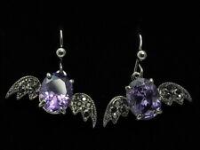 angel wings black hematite crystal amethyst gem stone dangle silver earrings E01