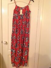 BNWT LADIES STRAPPY MAXI DRESS CORAL, BLACK & WHITE FLORAL DESIGN SIZE 12 RRP£12