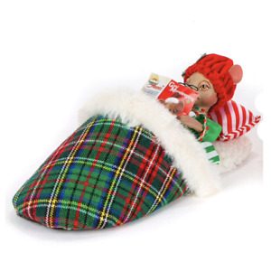 MOUSE IN SLIPPERS Katherine's Collection 28-028762 CHRISTMAS Table Top NEW MinT