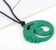 Tomb Raider Game Lara Croft Green Metal Pendant and Necklace