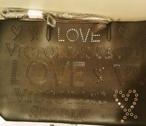 Victoria's Secret Love Black & Gold Perforated With Grommets Shoulder Tote Bag