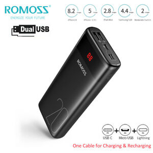 Romoss 20000mAh Powerbank USB-C Zusatzakku Batterie Ladegeräte Für alle Handys