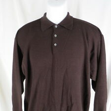 Vintage L Merino Sweater Neiman Marcus Made in Scotland Polo Collar Dark Brown