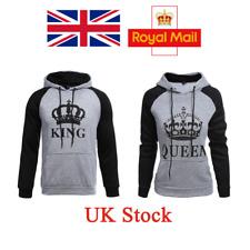 UK Couple King Queen Hoodie Matching Sweatshirt Jumper Sweater Pullover Coat Top