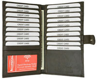 Brown RFID Block Leather Bifold 19 Card ID Checkbook Holder Long Snap Wallet
