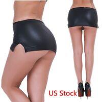 US Women Wetlook Skirt G-string Micro Dress Pencil Bodycon Nightwear G-string