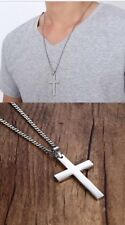 Men's Stainless Steel Simple Cross Cuban Chain Necklace Silver UK Seller