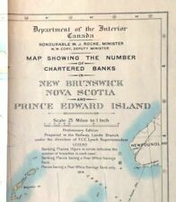 1914 Chartered Banks Maritime Canada Antique Map NS PEI NB 1st Edition
