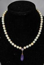Fine Antique Edwardian 14k Gold Lavender Jade Jadeite Graduated Pearl Necklace