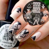 BORN PRETTY Nail Art Image Stamping Plates Geometry Negative Space Design BP-77