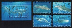 Ascension Sharks 4v+MS 2008 MNH SG#999-MS1003 MI#1033-1036+Block 62