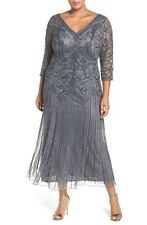 New PISARRO NIGHTS Beaded V Neck Mesh Dress Slate Gray 3/4 Sleeve Size 22 W