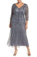 New PISARRO NIGHTS Beaded V Neck Mesh Dress Slate Gray 3/4 Sleeve Size 22 W