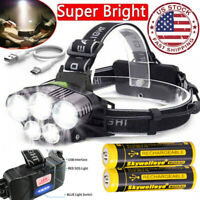350000LM 5X T6 LED Headlamp Rechargeable Headlight 18650 Flashlight Head Torch *
