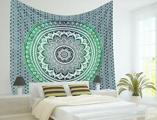10 Pc Wholesale Lot Indian ombre Mandala Tapestry Wall Hanging Green Color Throw