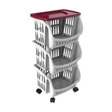 Carrello Porta Frutta Oggetti 3 Ceste Plastica Con Ruote + Vassoio Bordeaux Bama