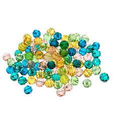 200 Mixte Perles Facettes Verre Rond Bijoux Loisir Créatif 4mm