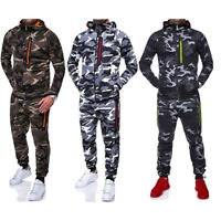 Mens Camouflage Tracksuit Set Joggers Zipper Hoodie Tops Sport Gym Coat Trousers