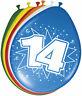 Ballon Multicolore Gonflables Nombre 14 Anniversaire 8 st Déco Fête