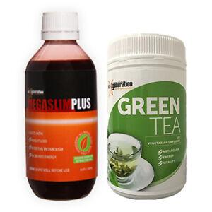 1 x Megaslim Plus 200ml & 1 x Green Tea 120 Vegetarian Capsules