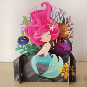 Children's Smiling Mermaid 3D Pop Up Birthday Greeting Card By Alljoy Cards