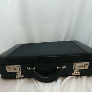 Samsonite Leather/fabric Briefcase Black Case Combo Lock Laptop Travel Bag